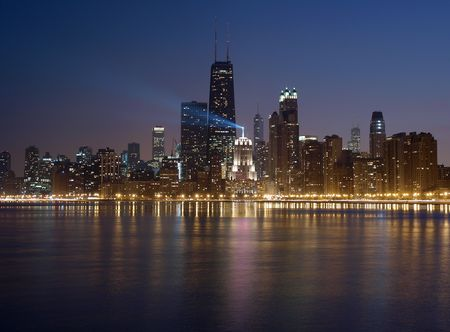 city park skyline: Big City Lights.  Chicago Illinois and its Lake Michigan waterfront.