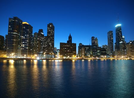 Chicago and Lake Michigan shoreline with clear night skies.   Stock Photo