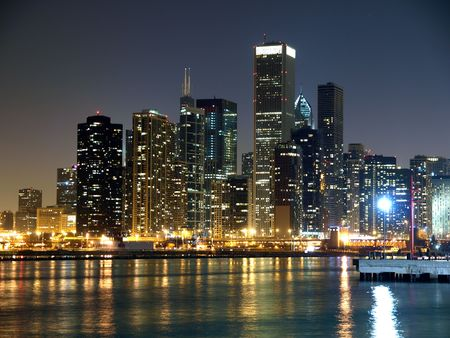Chicago Illinois and the Lake Michigan shore at night. photo