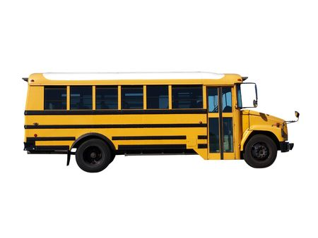 school objects: Bright yellow school bus.  Smaller size, clean and classic.