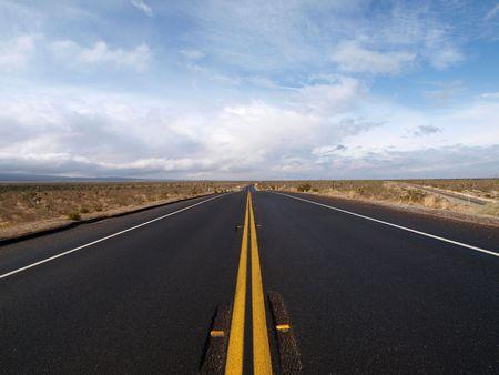 Winter storm sweeps across Pearblossom Highway in Californias Mojave Desert..    Stock Photo