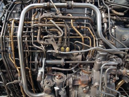 Jet engine buizen en lagen van mechanische delen     Stockfoto