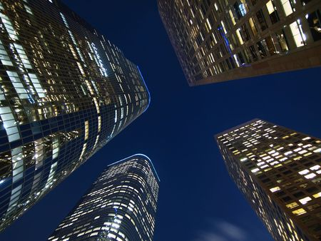 Downtown Los Angeles highrise towers at night. Stock Photo - 6168505