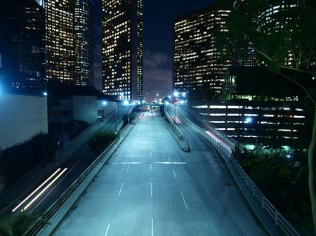 Downtown Los Angeles. Modern city street, late at night. photo
