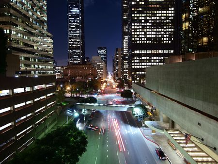 Flower Street in Downtown Los Angeles California. Stock Photo - 6273971