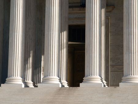 untied: Pillars of justice at the US Supreme Court building in Washington DC.