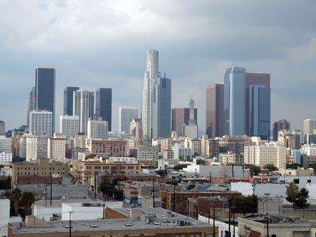 Winter storm clouds descend on downtown Los Angeles.