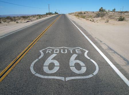 66: Historic Route 66 crossing Californias mojave desert.