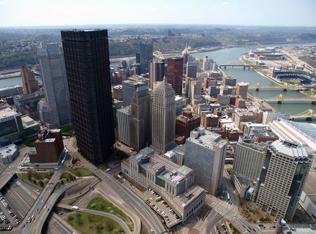 Aerial of downtown Pittsburgh Pennsylvania on a sunny day.