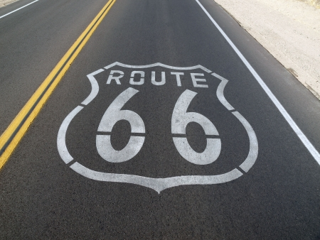 barstow: Route 66 sign painted onto the road pavement.