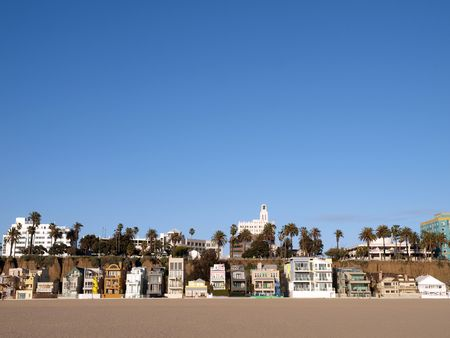 santa monica: Sunny Santa Monica beach life in southern California.  Stock Photo