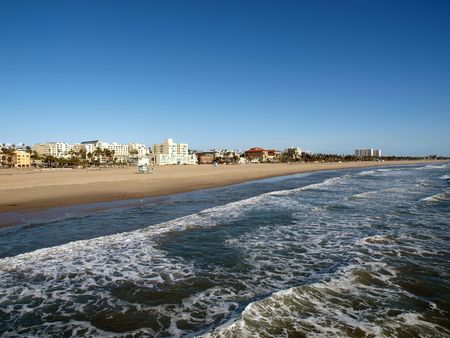 Sand and surf at world famous Santa Monica Beach in Southern California. Stock Photo - 6614897