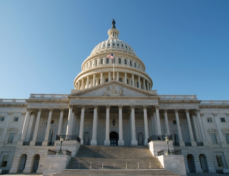 East side of the United States Capitol Building in Washington DC.      Stock Photo