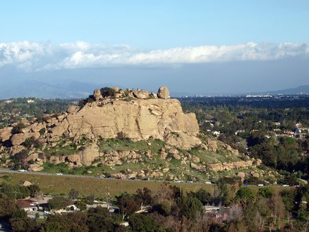chatsworth: Famous Stoney Point climbing rock in the western San Fernando Valley portion of the City of Los Angeles.         Stock Photo