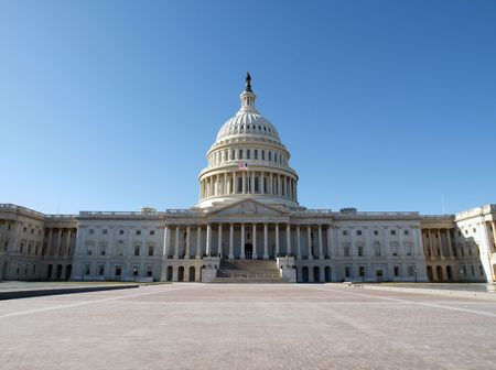 A sunny day at the Capitol building in Washington DC. Stock Photo