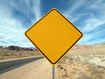 blank road sign: Blank highway sign crossing the Nevada desert.