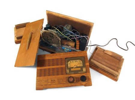 trashed: Vintage art deco radio.  Smashed to pieces.