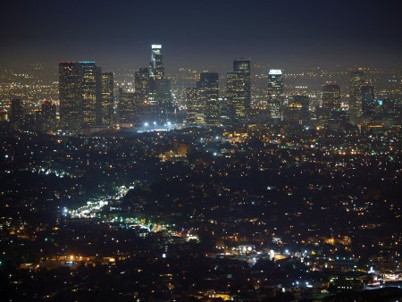 City of the Angeles.  Late night view from the top of Mt. Hollywood. photo