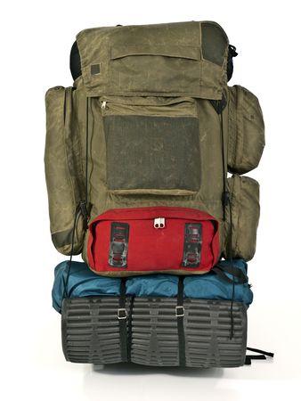 30 歳のバックパック。パッチを適用し、多くの高度の冒険から大敗します。 写真素材