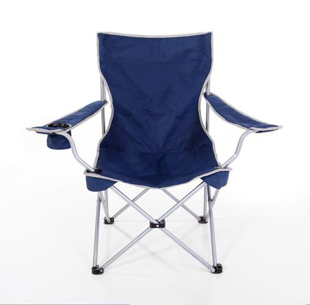 Blue folding camping chair with silver trim.   Stock Photo