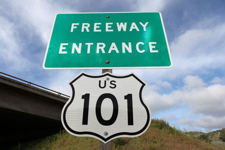 Freeway entrance sign,  US 101 between Los Angeles and San Francisco, CA. Stock Photo