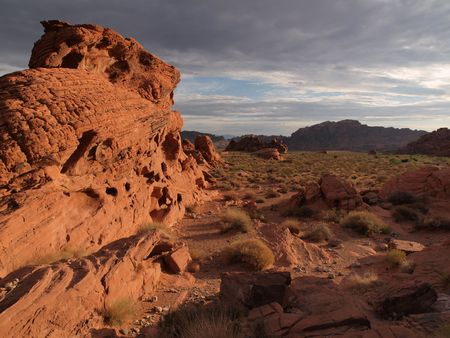 Dramatic sunrise and red sandstone formations at Valley of Fire Nevada. Stock Photo - 6879311