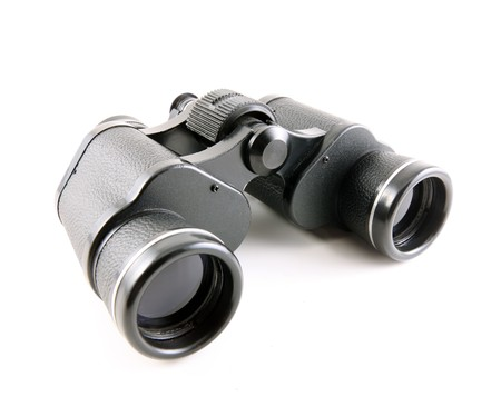 Old black binoculars shot on a white backdrop.   Stock Photo - 6879348
