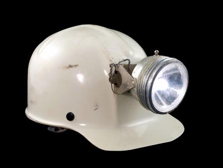mineria: Vintage espeleolog�a  cascos desde la d�cada de 1970 de la miner�a.  Foto de archivo