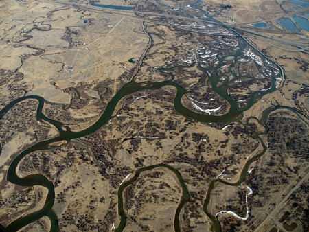 great plains: Montana aerial of the Missouri river headwaters.  The western terminus of the great plains.