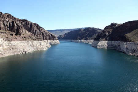 Lake Mead. Nevada view from high on top of Hoover Dam.  photo