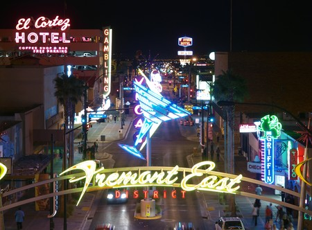 LAS VEGAS NEVADA - MAY 7, 2010:  Neon lights glow brightly on the recently revitalized East Fremont District May 7, 2010 in Las Veas Nevada..   新闻类图片
