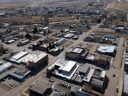 Aerial of a small farm town in the midwestern United States Stock Photo - 7002747