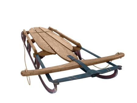 luge: Large wooden snow sled from the 1940s. Stock Photo