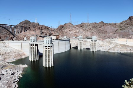 Lake Mead and Hoover dam on the Colorado River in the Western United States. Stock Photo - 7002744