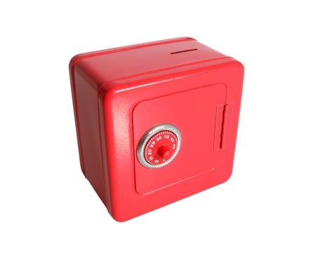 combination: Little toy safe with combination dial lock Stock Photo
