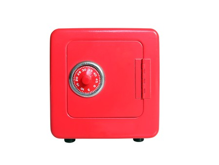 Red toy safe with combination dial lock.   photo