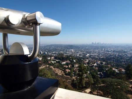 Los Angeles City View with tourist telescope.   photo