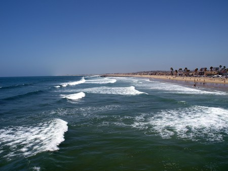 newport: Sets of surf along the Southern California Coast.