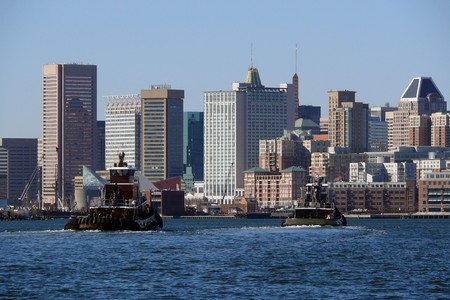 Baltimore Maryland waterfront on a bright sunny morning. Stock Photo