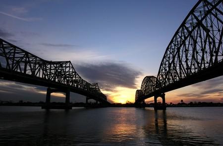 Two historic bridges at sunset in rural Louisiana. Stock Photo - 7044178
