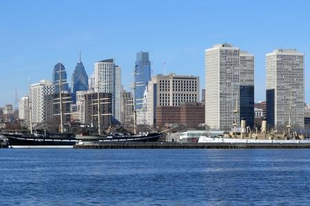 Philadelphias scenic riverfront on a bright sunny morning.