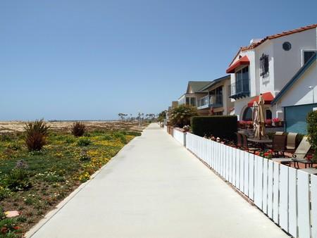 Sidewalk and bike path in a Southern California beach resort community. photo