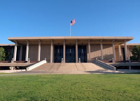 northridge: NORTHRIDGE CALIFORNIA - MARCH 10, 2010.  Landmark modernist Oviatt Library.  Architectual centerpiece of CSUN California State University Northridge campus.