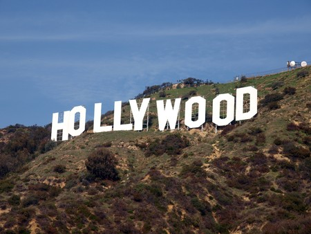 Los Angeles, California - Jan 14 2009: Sunny at the famous Hollywood Sign.