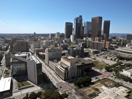 View of downtown Los Angeles on a smog free winter day.   Stock Photo