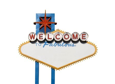 Famous Welcome to Las Vegas sign with text blanked out.          Stock Photo