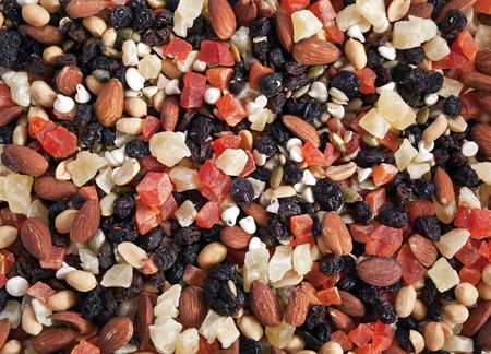 Colorful tropical trail mix.  A healthy snack.   photo