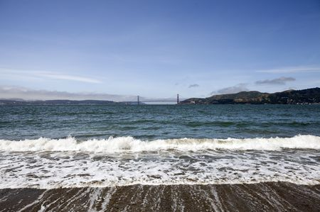 View of the Golden Gate Bridge from a secluded beach on Angel Island. Stock Photo - 7154768