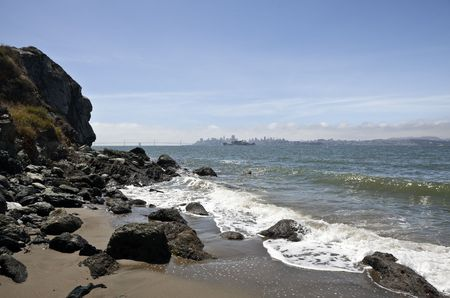 View towards San Francisco from historic Angel Island Beach. Stock Photo - 7154718