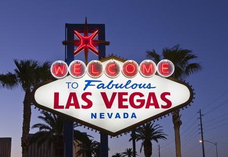 old sign: Las Vegas Welcome sign in late evening light. Stock Photo